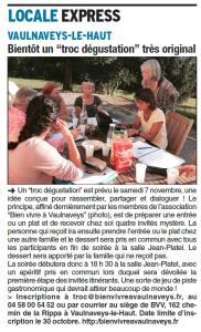 Article repas itinérant Dauphiné Libéré